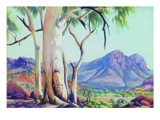 Albert Namatjira (circa 1902-1959) Ghost Gums and Blue Ranges