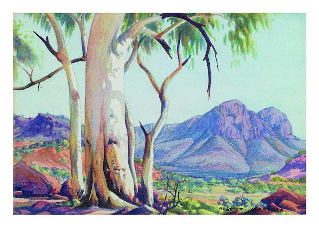 Albert Namatjira (circa 1902-1959) Ghost Gums and Blue Ranges