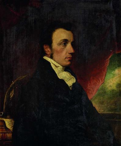 Thomas Griffiths Wainewright (British, 1794-1847) Portrait of Edward Foss, under Sheriff of London and lawyer, seated, quarter-length, wearing a dark coat, before a red swag, sky beyond, c.1816
