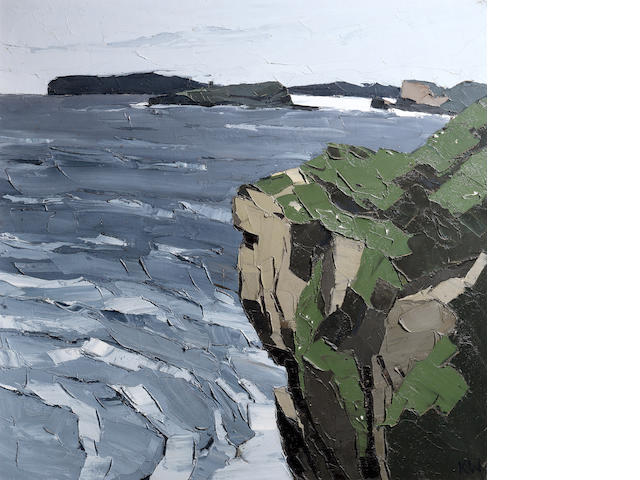 Sir Kyffin Williams R.A. (British, 1918-2006) Coast at Fedw Fawr 91.4 x 91.4 cm. (36 x 36 in.)