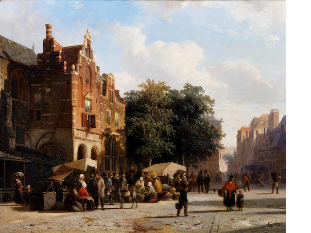 Cornelis Springer (Dutch, 1817-1891) Market day