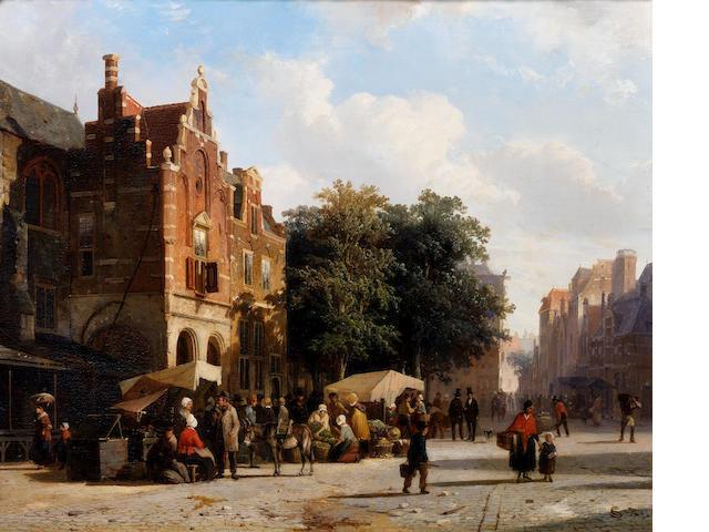 Cornelis Springer (Dutch, 1817-1891) Market day
