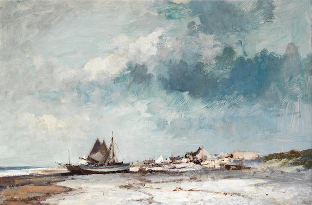 Edward Seago, RWS (British, 1910-1974) Shrimp boats on the Suffolk Coast