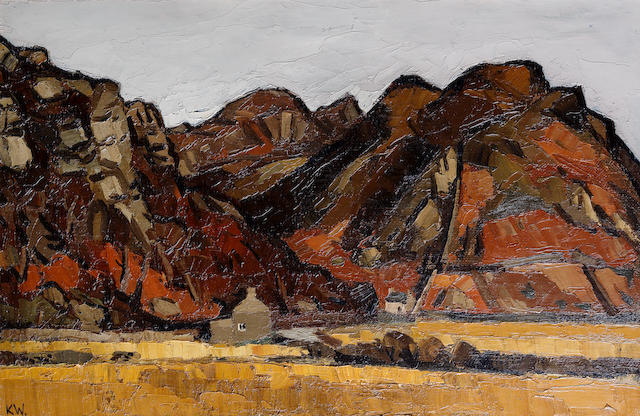 Sir Kyffin Williams R.A. (British, 1918-2006) The Maentwrog Valley, Snowdonia 51.4 x 76.2 cm. (20 1/4 x 30 in.)