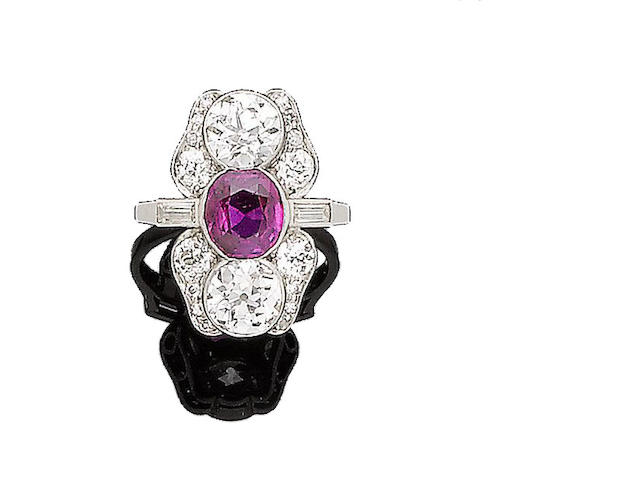 An art deco ruby and diamond dress ring,
