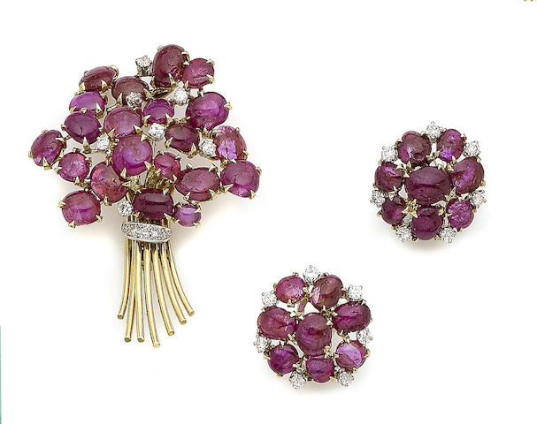 A ruby and diamond-set flower brooch and earring suite (2)