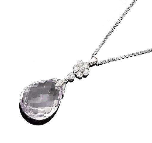 A kunzite and diamond pendant necklace (2)