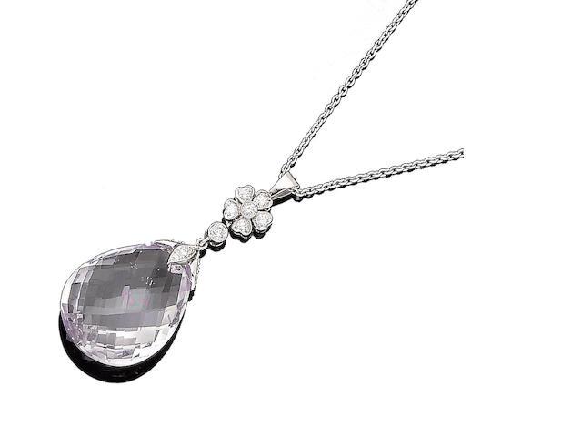 A kunzite and diamond pendant necklace (2)