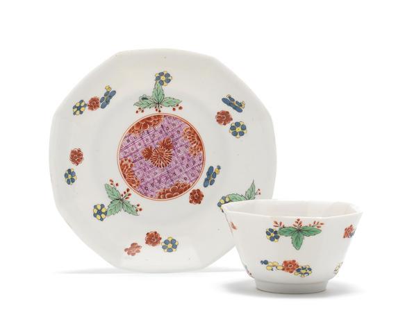 A rare Meissen octagonal teabowl and saucer, circa 1730