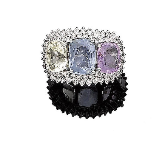 A multi-coloured sapphire and diamond dress ring