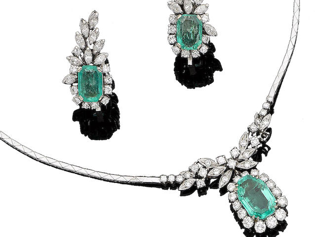 An emerald and diamond pendant necklace and earring suite (2)