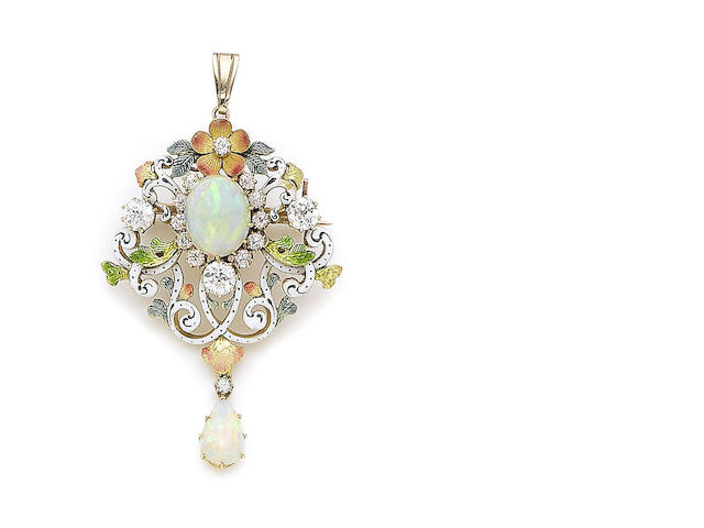 An enamel, opal, and diamond brooch/pendant,