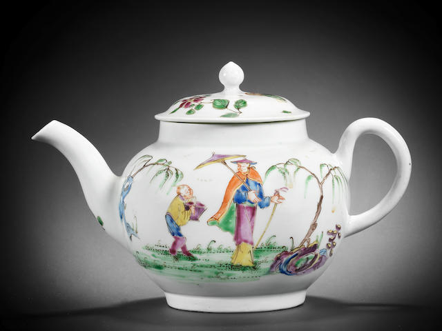 A fine Worcester teapot and cover, circa 1754-55