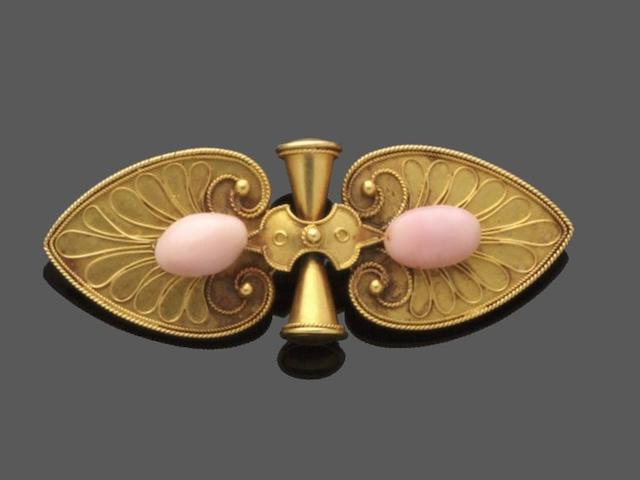 John Brodgen: A conch pearl set brooch, circa 1860's