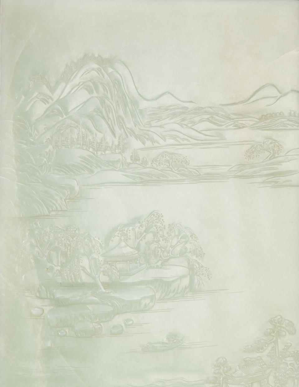 A very fine pale greenish-white jade 'landscape' rectangular table screen Qianlong