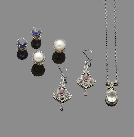 A collection of vari gem-set earrings and pendants (7)