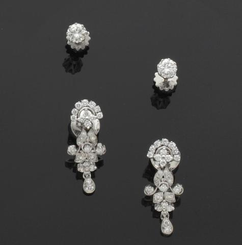 Two pairs of diamond earrings (2)