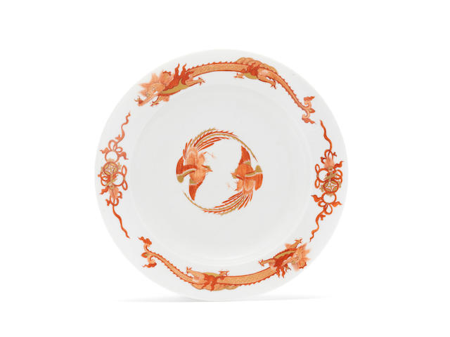 "A rare Meissen deep plate from the ""Red Dragon"" service, circa 1730"