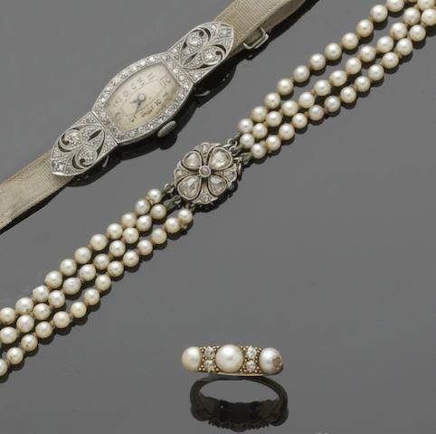 A collection of cultured pearl jewellery and a diamond set cocktail watch (6)