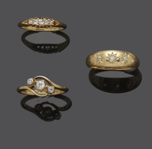 A collection of diamond set rings (6)