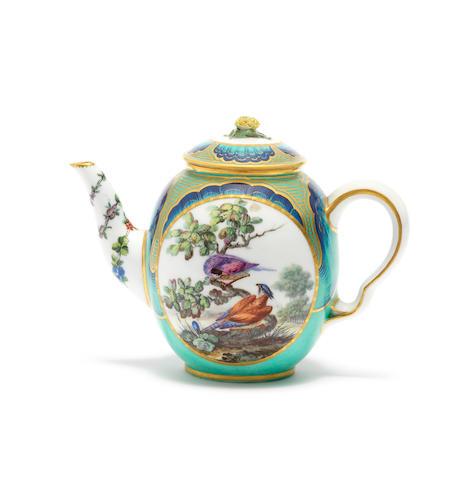 A rare Sèvres 'petit verd'-ground teapot and cover, circa 1765