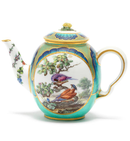 A rare Sèvres 'petit verd'-ground teapot and cover, circa 1765