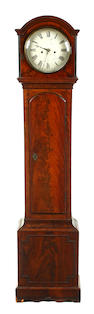 A 19th century Scottish line inlaid figured mahogany 8 day long case clock Anonymous