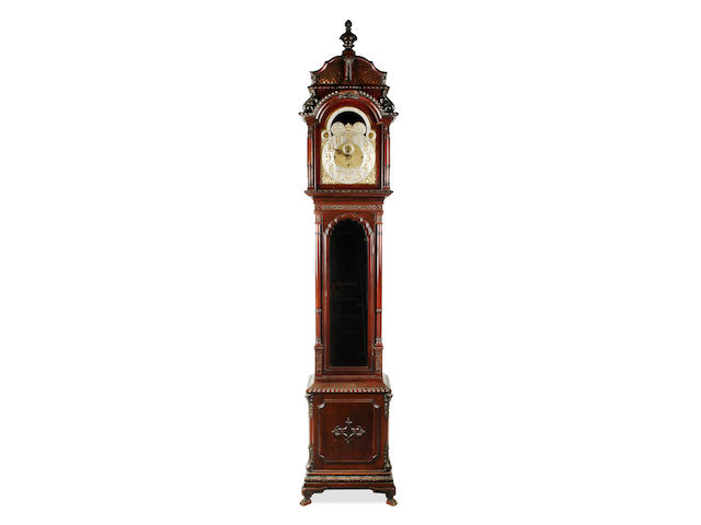 An impressive Edwardian mahogany 6-pillar three train quarter striking and chiming 8 day longcase clock  Russells Ltd 18 Church Street Liverpool