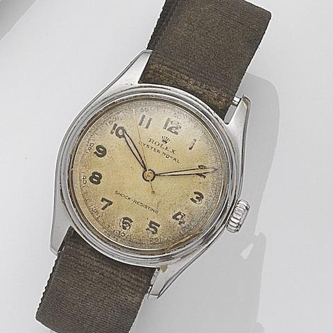 Rolex. A stainless steel manual wind wristwatch Oyster Royal, Ref:6044, Serial No.739***, Circa 1951