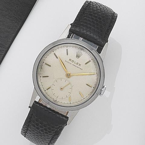 Rolex. A stainless steel manual wind wristwatch Oyster, Ref:3322, Case No.12324, Movement No.40488, Circa 1950