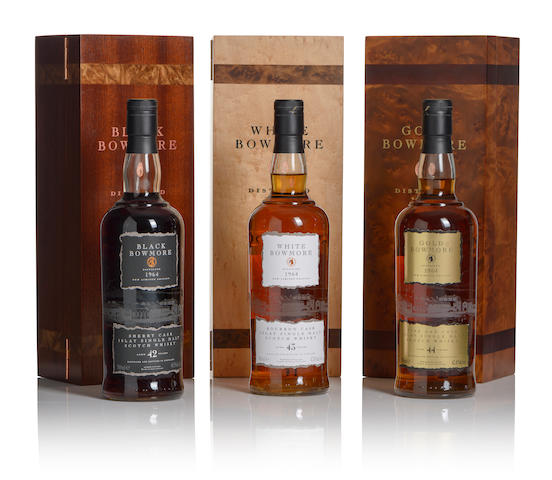 Black Bowmore-42 year old-1964 (1)  White Bowmore-43 year old-1964 (1)  Gold Bowmore-44 year old-1964 (1)