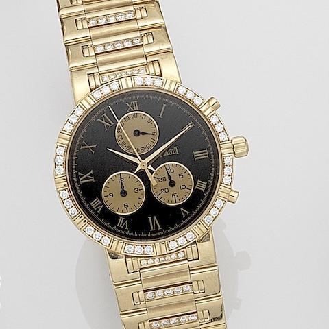 Piaget. An 18ct gold and diamond set quartz calendar chronograph bracelet watch Haute Complication, Ref:14024 K 818, Case No.617162, Movement No.9412704, Circa 2000