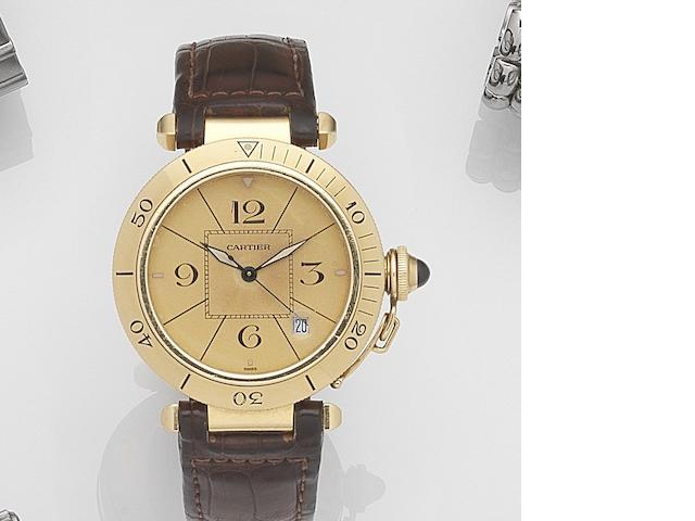 Cartier. An 18ct gold automatic calendar wristwatch Pasha, Ref:1991, Case No.M 103711, Circa 1995