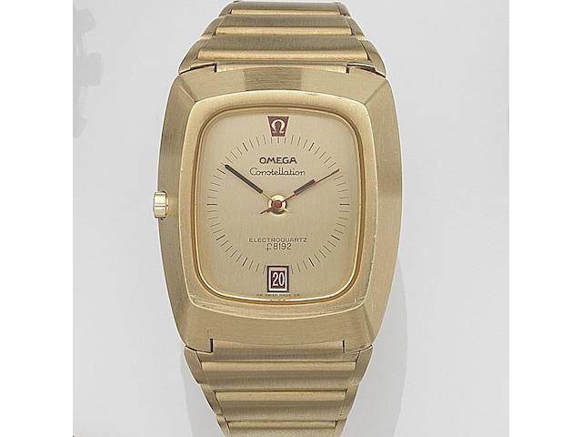 Omega. An 18ct gold quartz calendar bracelet watch Constellation Electroquartz F8192, Ref:196.005, Movement No.31731305, Circa 1972