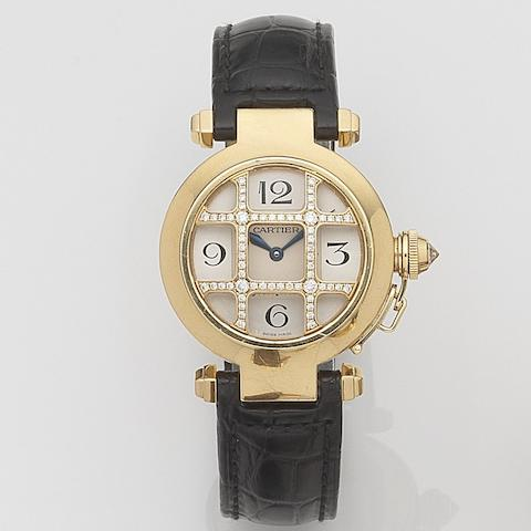 Cartier. A lady's 18ct gold and diamond set quartz wristwatch Pasha, Ref:2814, Case No.320523CE, Sold 11th November 2005