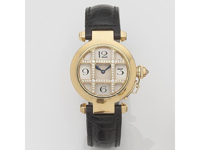 Cartier. A lady's 18ct gold and diamond set quartz wristwatch Pasha, Ref:2814, Case No.320523CE, Sold 11th November 2005