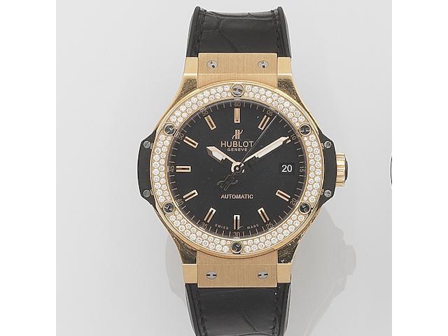 Hublot. An 18ct gold and titanium diamond set automatic wristwatch Big Bang, Case No.840155, Recent