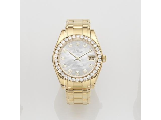 Rolex. A mid size 18ct gold and diamond set automatic calendar bracelet watch Datejust, Ref:81298, Serial No.V42****, Movement No.287****, Circa 2008