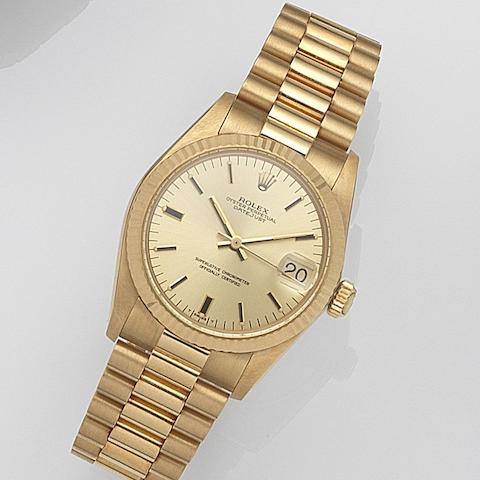Rolex. A lady's 18ct gold automatic calendar bracelet watch Datejust, Ref:6827, Serial No.612****, Movement No.646***, Circa 1980