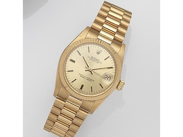 Rolex. A lady's 18ct gold automatic calendar bracelet watch Datejust, Ref:6827, Serial No.612****, Movement No.646***, Circa 1980