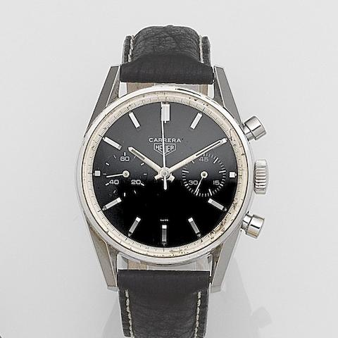 Heuer. A stainless steel manual wind chronograph wristwatch Carrera, Circa 1964