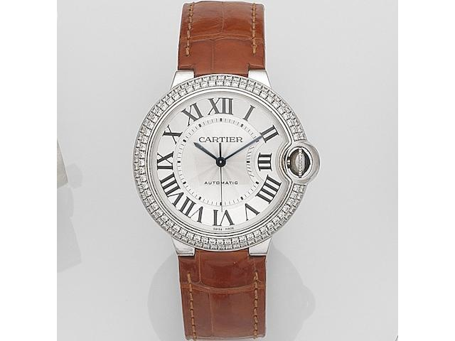 Cartier. An 18ct white gold and diamond set automatic wristwatch Ballon Bleu, Ref:3004, Case No.129923NX, Sold 14th February 2009