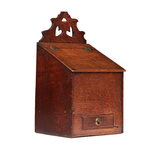 An early to mid-19th century oak salt box