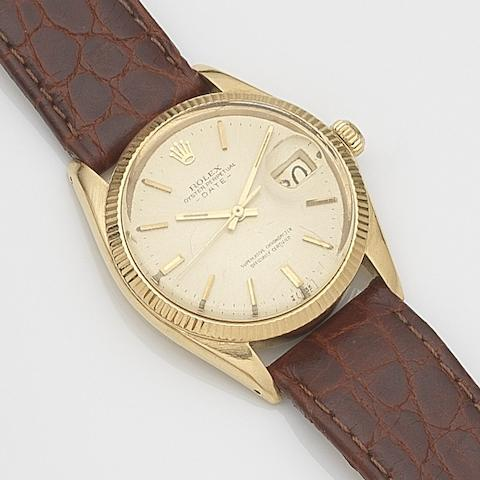 Rolex. An 18ct gold automatic calendar wristwatch Date, Ref:1503, Serial No.236****, Movement No.D50****, Sold 12th June 1997