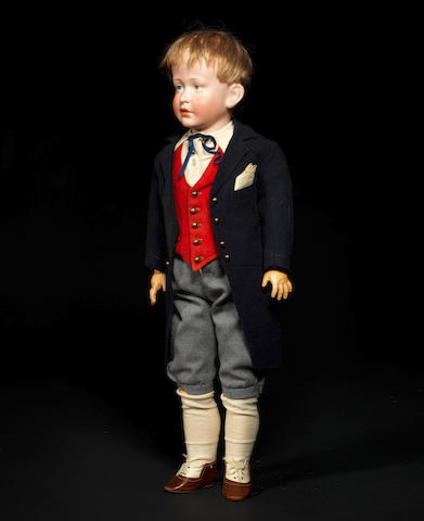 A Simon & Halbig 150 bisque head character boy doll