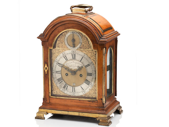 A George III satinwood repeating bracket clock The dial inscribed George Farquharson London