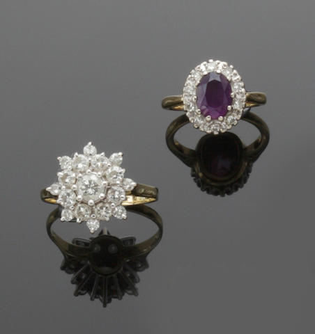 A collection of four diamond set rings (4)