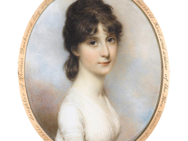 "<div class=""LotName"">William Wood (British, 1769-1810)</div><div class=""LotDesc"">Miss Charlotte Sophia Dashwood (1769-1810), wearing white dress, her brown hair upswept. <BR />Gold frame, the reverse with border of blue glass surrounding an oval gold-mounted aperture, glazed to reveal strands of brown hair set with gilt-wire and split seed pearls on opalescent glass, the outermost rim to the reverse posthumously engraved <i>Charlotte Sophia daughter of Thomas Dashwood Esq. wife of James Alexander Esq. of Somerhill, Kent, and widow of the Hon. Charles Andrew Bruce</i>. <BR />Oval, <I>78mm</I> (<I>3 1/16in) high</I></div>"