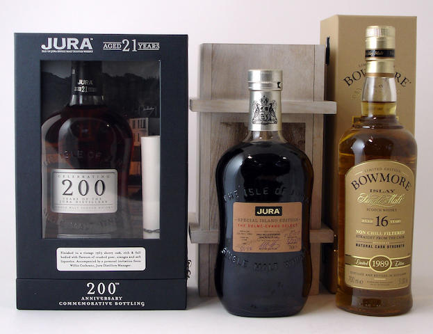 Isle of Jura 200th Anniversary-21 year oldIsle of Jura Special Island Edition-1988Bowmore-16 year old-1989