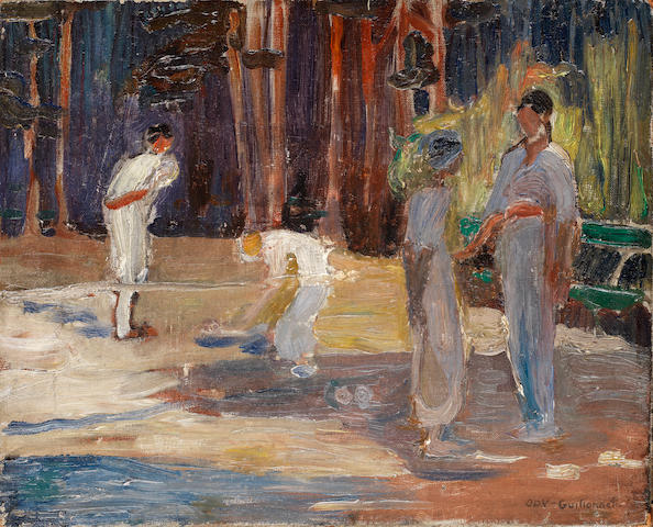 Octave Denis Victor Guillonnet (French, 1872-1967) Figures in the park